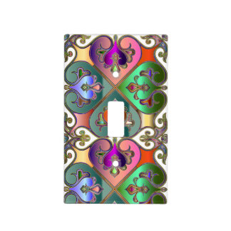 Elegant Colorful Arabesque Abstract Personalized Light Switch Cover