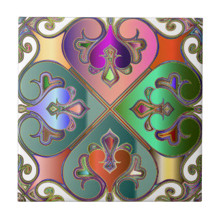 Elegant Colorful Arabesque Abstract Personalized Tile