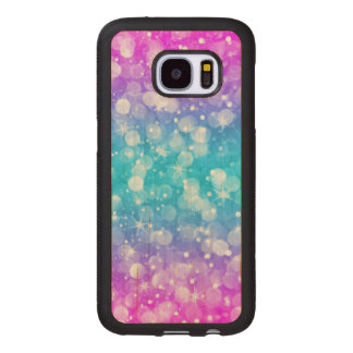 Elegant colorful bokeh glitter wood samsung galaxy s7 case