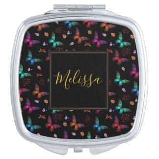 Elegant Colorful Butterflies on Black Makeup Mirror