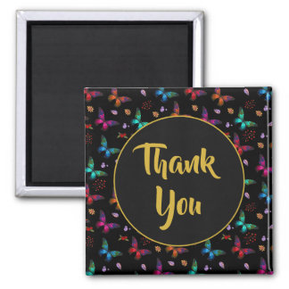 Elegant Colorful Butterflies on Black Thank You Magnet