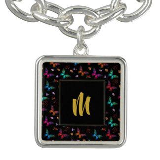 Elegant Colorful Butterflies on Black w/ Monogram Bracelet