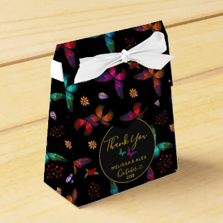 Elegant Colorful Butterflies on Black Wedding Favor Box