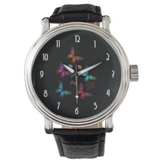 Elegant Colorful Butterflies Pattern on Black Watch