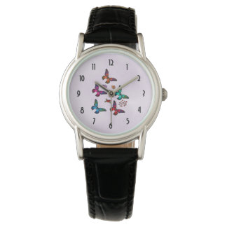 Elegant Colorful Butterflies Pattern on Pink Watch