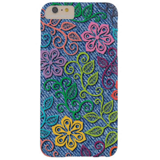 Elegant Colorful Flower Pattern Denim Blue Jeans Barely There iPhone 6 Plus Case