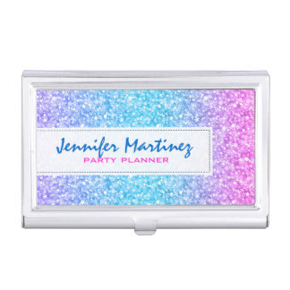 Elegant Colorful Glitter & Sparkles Texture Business Card Holder