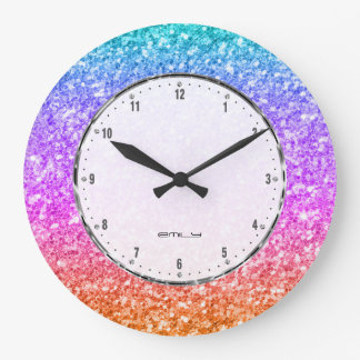 Elegant Colorful Glitter Texture Large Clock