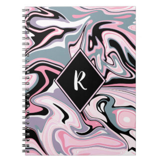 Elegant colorful marble pink purple black blue spiral notebook