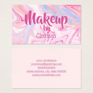 Elegant colorful pastel pink blue orange marble business card