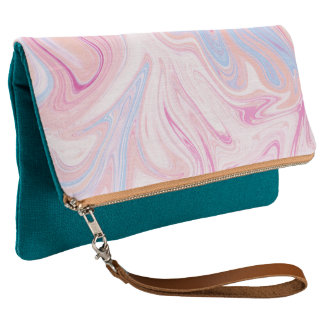 Elegant colorful pastel pink blue orange marble clutch