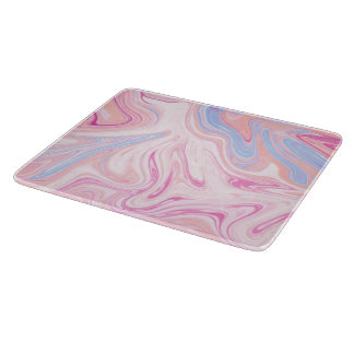 Elegant colorful pastel pink blue orange marble cutting board