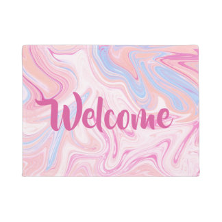 Elegant colorful pastel pink blue orange marble doormat