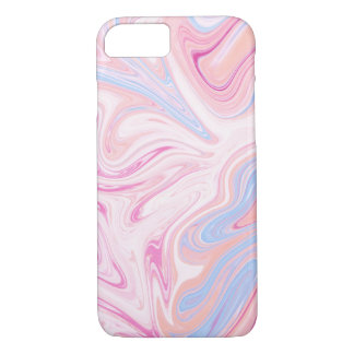 Elegant colorful pastel pink blue orange marble iPhone 8/7 case