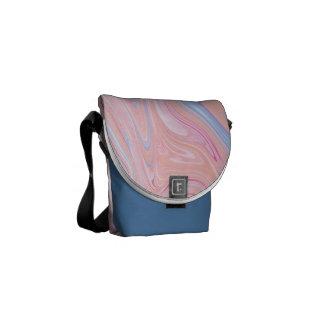 Elegant colorful pastel pink blue orange marble messenger bags