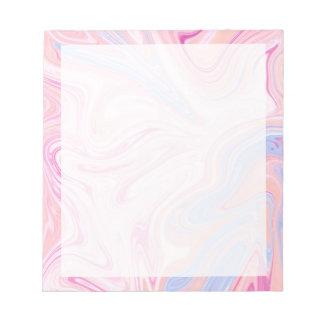 Elegant colorful pastel pink blue orange marble notepad