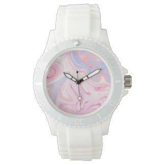 Elegant colorful pastel pink blue orange marble watch
