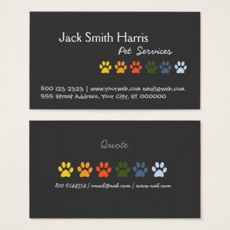 Elegant Colorful Paws DOG Pet Veterinarian Business Card