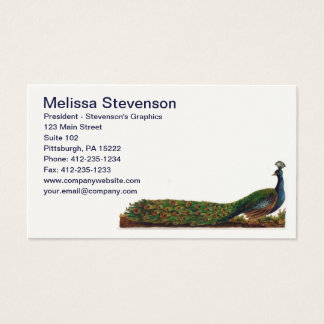 Elegant Colorful Peacock Vintage Business Card