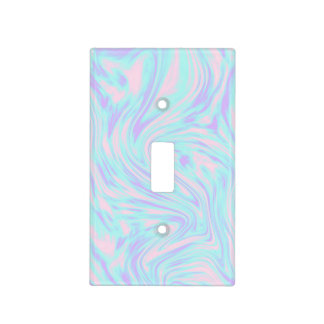 elegant colorful pink blue purple white marble light switch cover