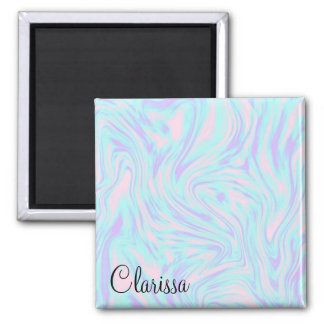 elegant colorful pink blue purple white marble magnet