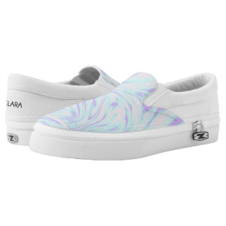 elegant colorful pink blue purple white marble Slip-On sneakers