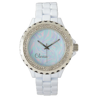 elegant colorful pink blue purple white marble watch