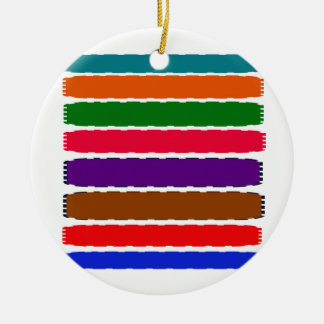Elegant Colorful Rainbow Slices Pattern Round Ceramic Ornament