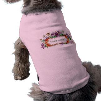 Elegant Colorful Vintage Violet Calling Card Doggie T Shirt