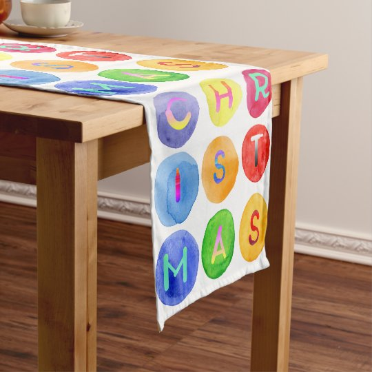 Elegant colourful watercolor Christmas typography Short Table Runner