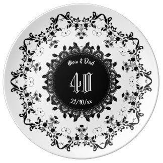 Elegant Commemorative Porcelain Plate Black White