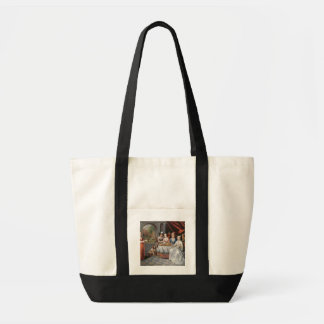 Elegant company dining in an pillared hall (panel) tote bag