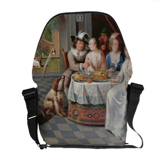 Elegant company dining in an pillared hall (panel) messenger bag