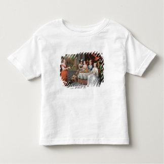 Elegant company dining in an pillared hall (panel) tee shirt