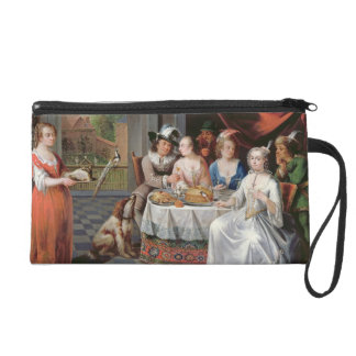 Elegant company dining in an pillared hall (panel) wristlet