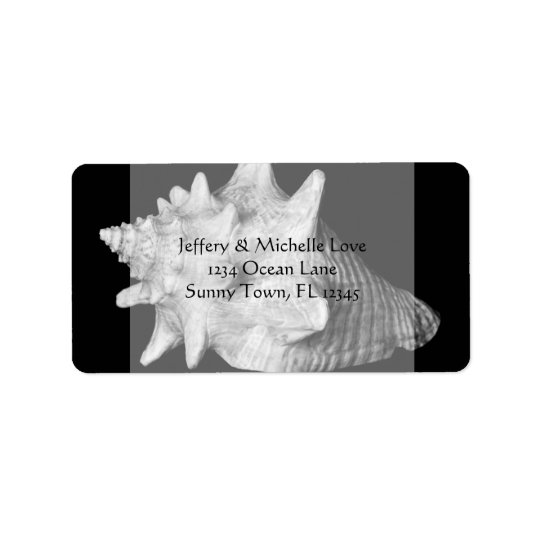 Elegant Conch Shell Beach Black and White Address Label