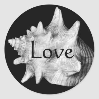 Elegant Conch Shell Beach LOVE Black and White Round Sticker