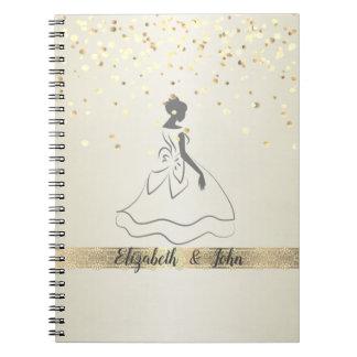 Elegant,Confetti,Lace,Bridal  Wedding Planner Spiral Notebook