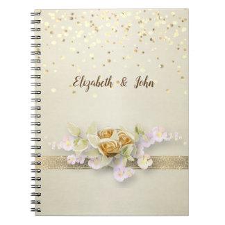 Elegant,Confetti,Lace,Flowers Wedding Planner Spiral Notebook