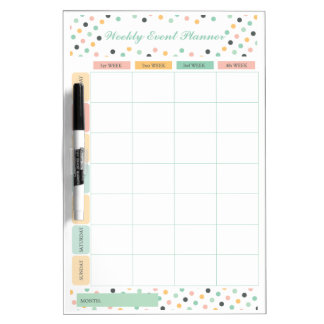 Elegant Confetti Polka Dots Weekly Monthly Planner Dry Erase Board