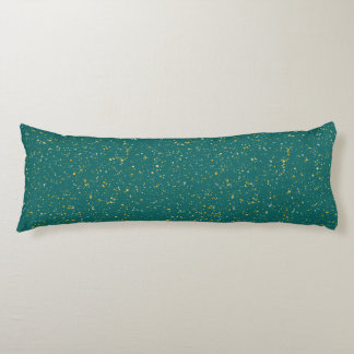 Elegant Confetti Space - Teal Green & Gold,Silver Body Pillow
