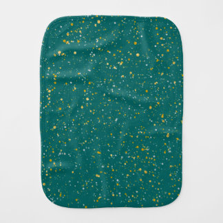 Elegant Confetti Space - Teal Green & Gold,Silver Burp Cloth