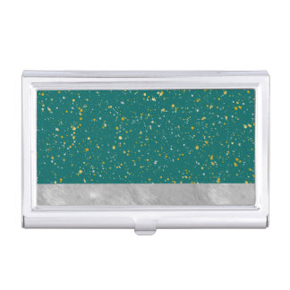 Elegant Confetti Space - Teal Green & Gold,Silver Business Card Holder