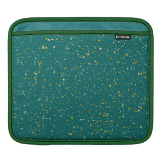 Elegant Confetti Space - Teal Green & Gold,Silver iPad Sleeve