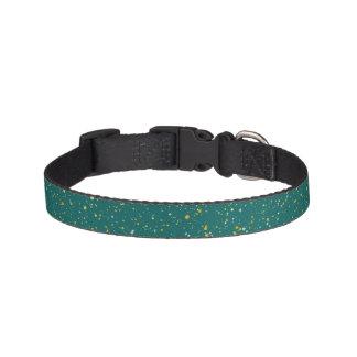 Elegant Confetti Space - Teal Green & Gold,Silver Pet Collar