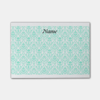 Elegant contemporary turquoise damask post-it notes