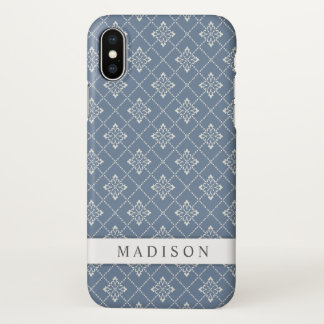 Elegant Cool Blue Vintage White Diamonds Zazzle iPhone X Case