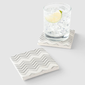 elegant, cool, classic, modern light grey zigzag stone coaster