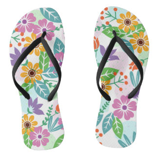 Elegant cool colorful floral pattern flip flops