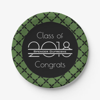 Elegant, Cool & Green Graduation Paper Plate